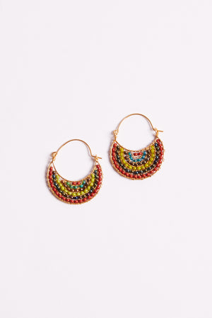 Punta Mita Red Beaded Gold Earrings Flat