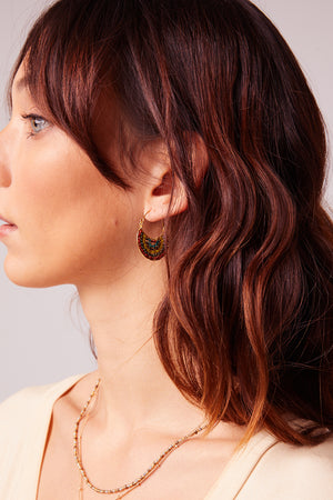 Punta Mita Red Beaded Gold Earrings Detail