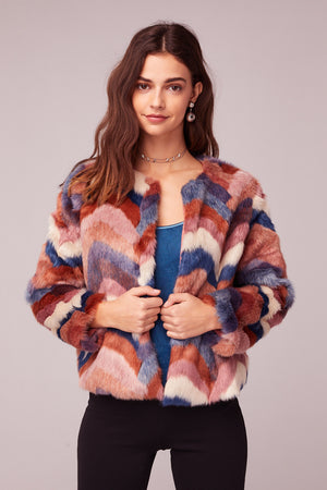 Purple Haze Faux Fur Jacket Close