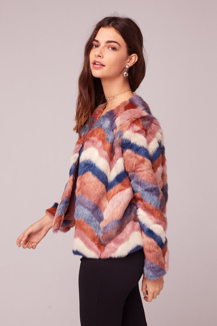 Purple Haze Faux Fur Jacket Side