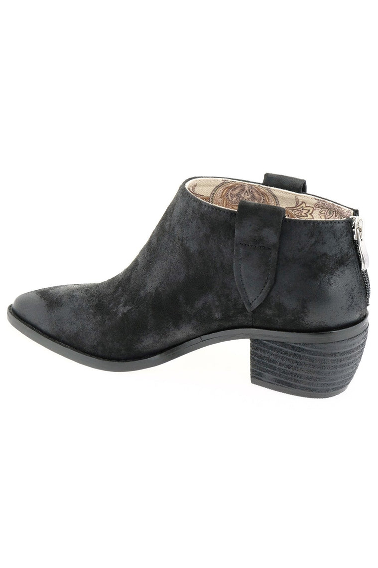 Rainier Burnished Micro Cowsuede Black Bootie Back