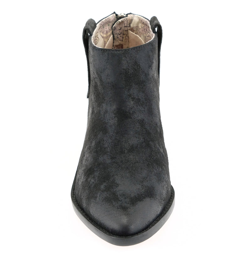 Rainier Burnished Micro Cowsuede Black Bootie Detail