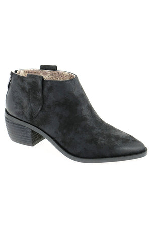 Rainier Burnished Micro Cowsuede Black Bootie Master