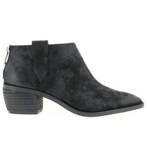 Rainier Burnished Micro Cowsuede Black Bootie Side