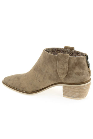Rainier Burnished Micro Cowsuede Taupe Bootie Back