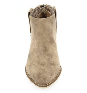 Rainier Burnished Micro Cowsuede Taupe Bootie Detail