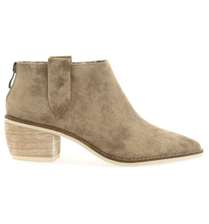 Rainier Burnished Micro Cowsuede Taupe Bootie Side