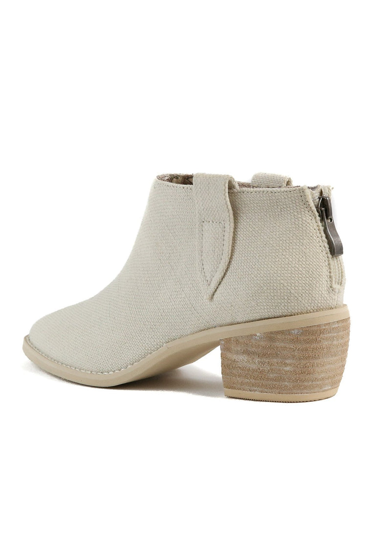 Rainier Canvas Ecru White Bootie Back