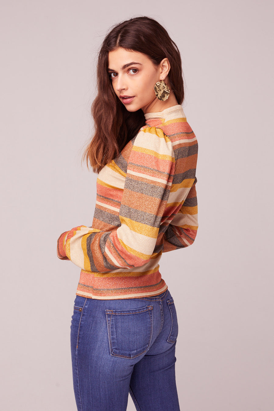 Ramble On Retro Stripe Lurex Mock Neck Top