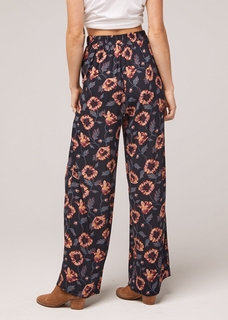 Ravenel Floral Black Printed Wide Leg Pant Back