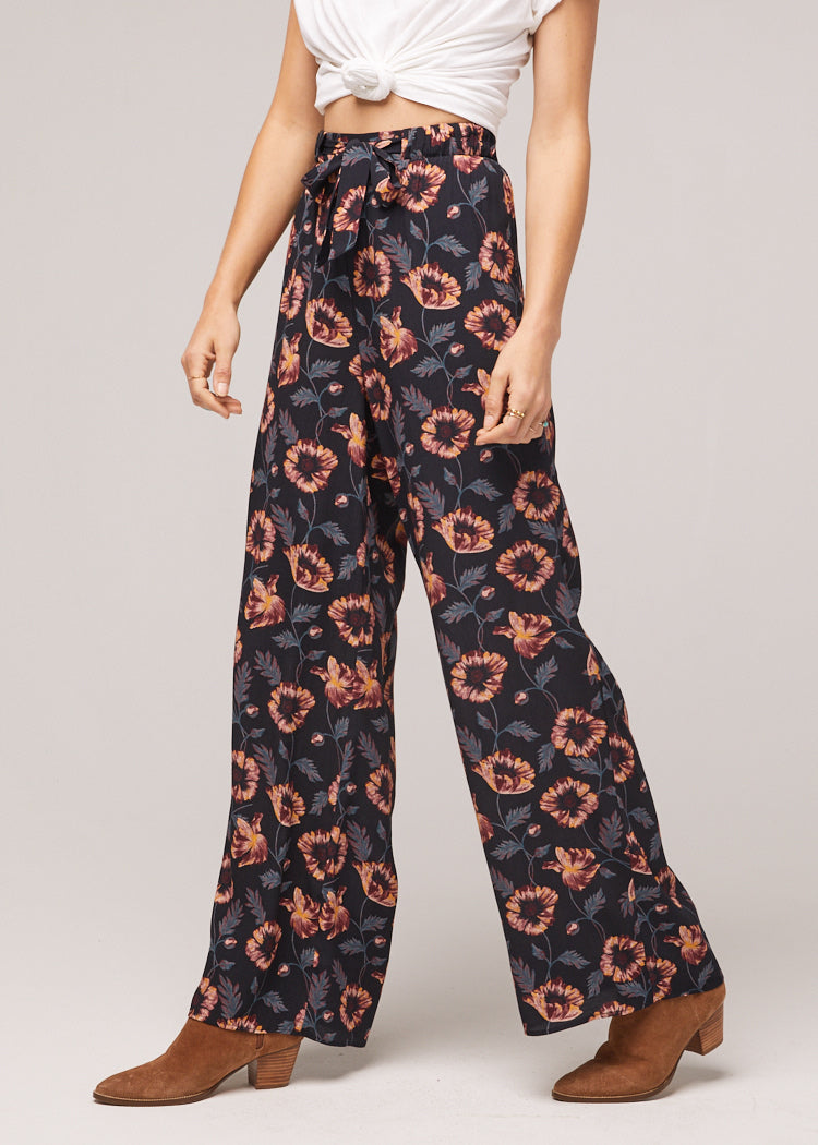 Ravenel Floral Black Printed Wide Leg Pant Side