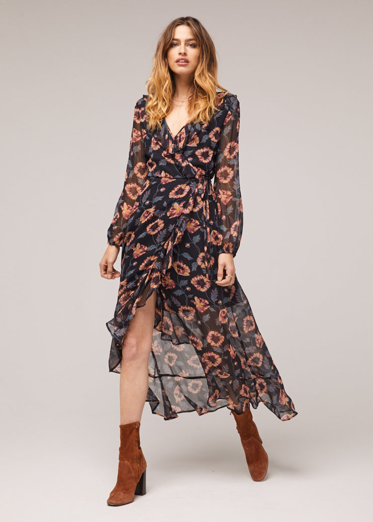 Reese Black Floral Print Long Sleeve Wrap Maxi Dress Master