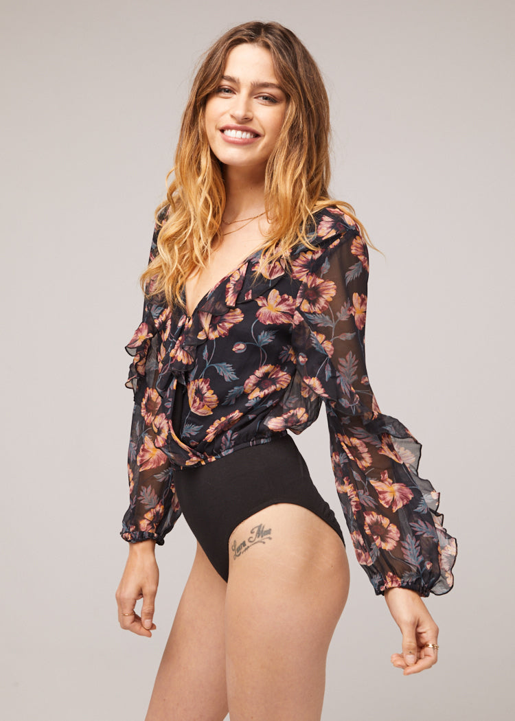 Regan Floral Long Sleeve Bodysuit Side Detail
