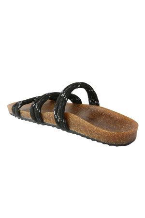Rhea Black Climbing Rope Slide Sandal Back