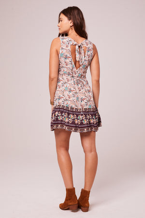 Rock Your Body Plum Border Print Mini Dress Back