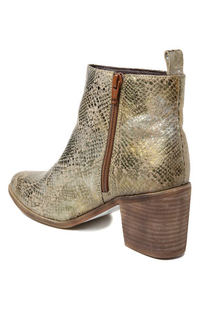 Rodeo Gold Snake Effect Leather Boot Back