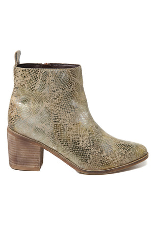 Rodeo Gold Snake Effect Leather Boot Side