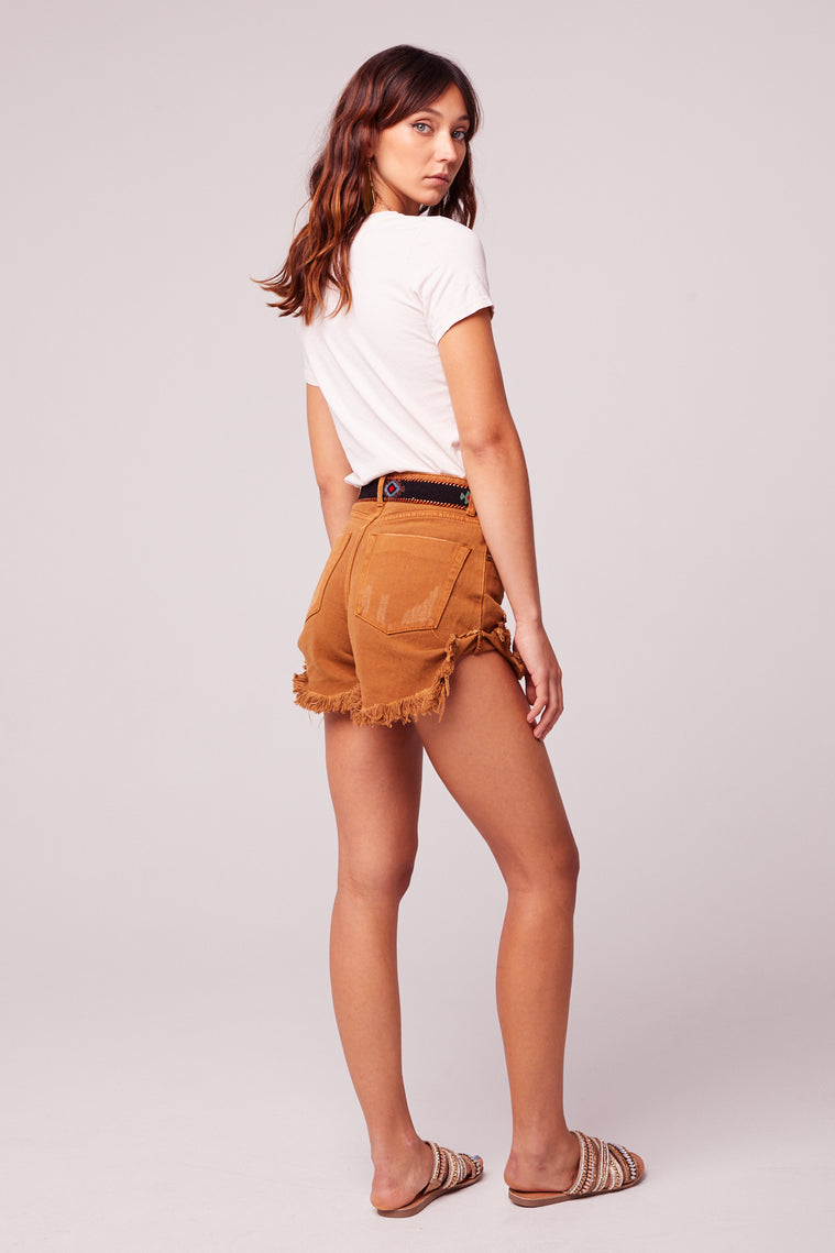 Rolla Cut Off Distressed Caramel Denim Shorts Back