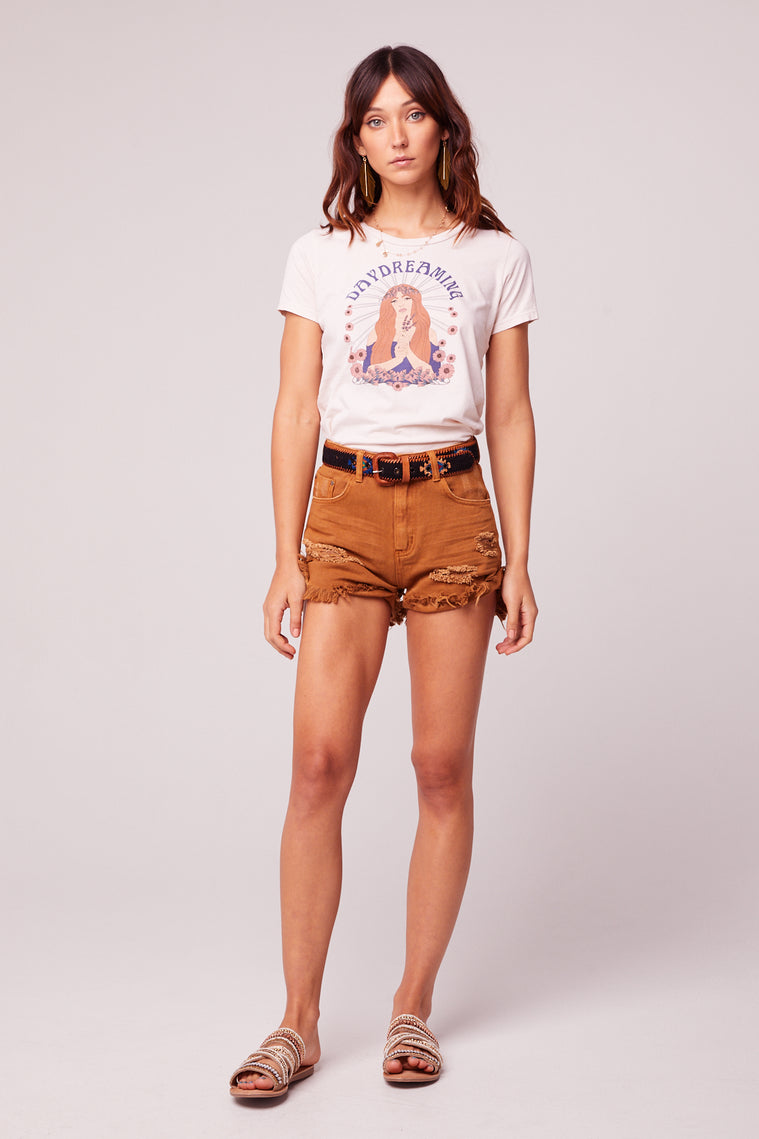 Rolla Cut Off Distressed Caramel Denim Shorts Master