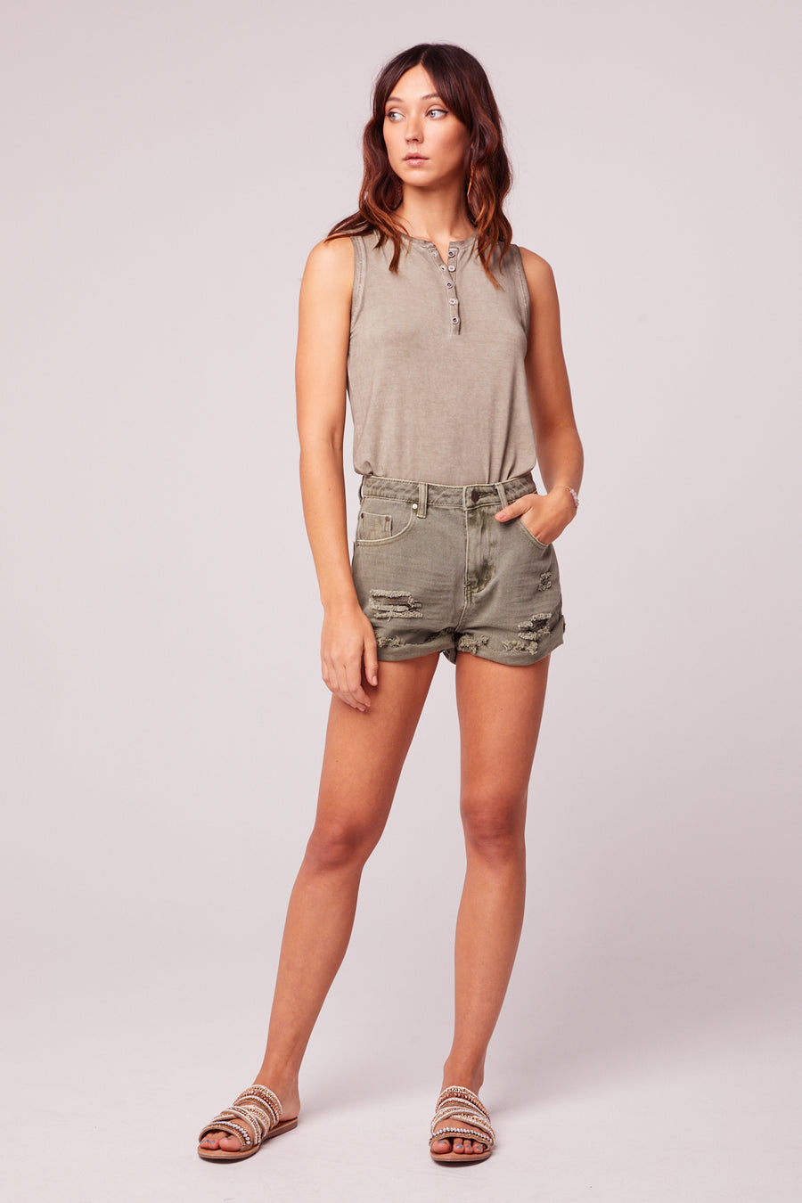Rolla Cut Off Distressed Green Denim Shorts Master