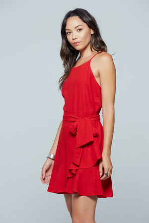 Roma Ruffle Tie Minidress Side