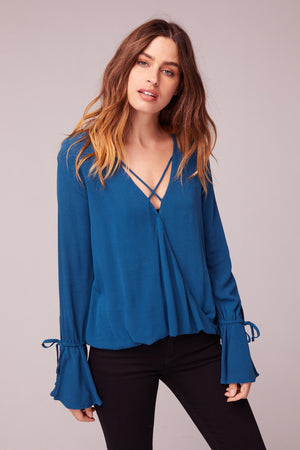 Rome Bell Sleeve Blouse Close