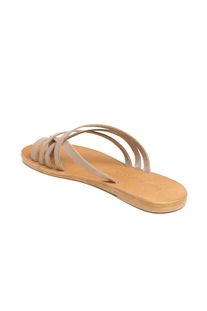 Rose Beige Leather Strappy Sandal Back