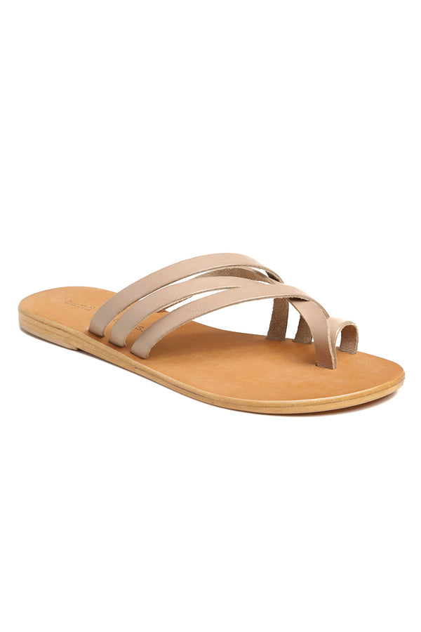 Rose Beige Leather Strappy Sandal Front