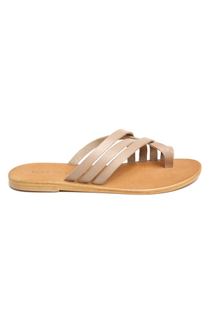 Rose Beige Leather Strappy Sandal Side