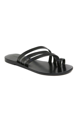 Rose Black Leather Strappy Sandal Front