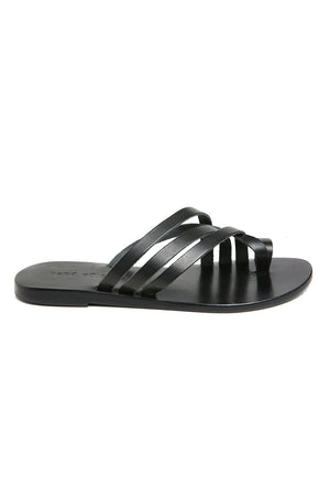 Rose Black Leather Strappy Sandal Side