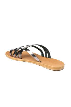 Rose Pewter Leather Strappy Sandal Back