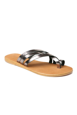 Rose Pewter Leather Strappy Sandal Front