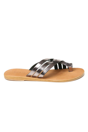Rose Pewter Leather Strappy Sandal Side