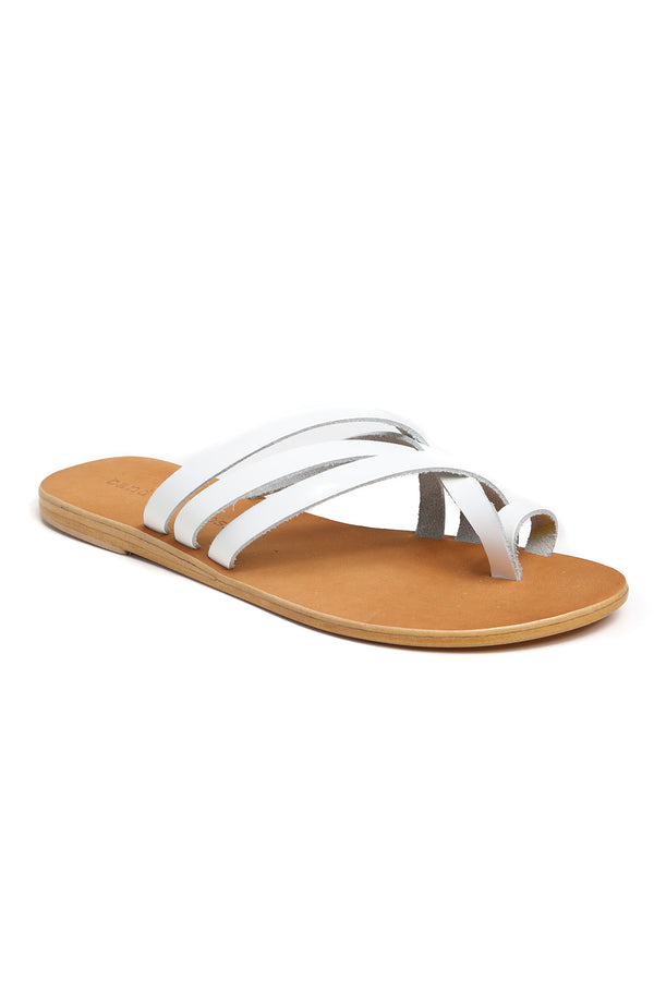 Rose White Leather Strappy Sandal Front