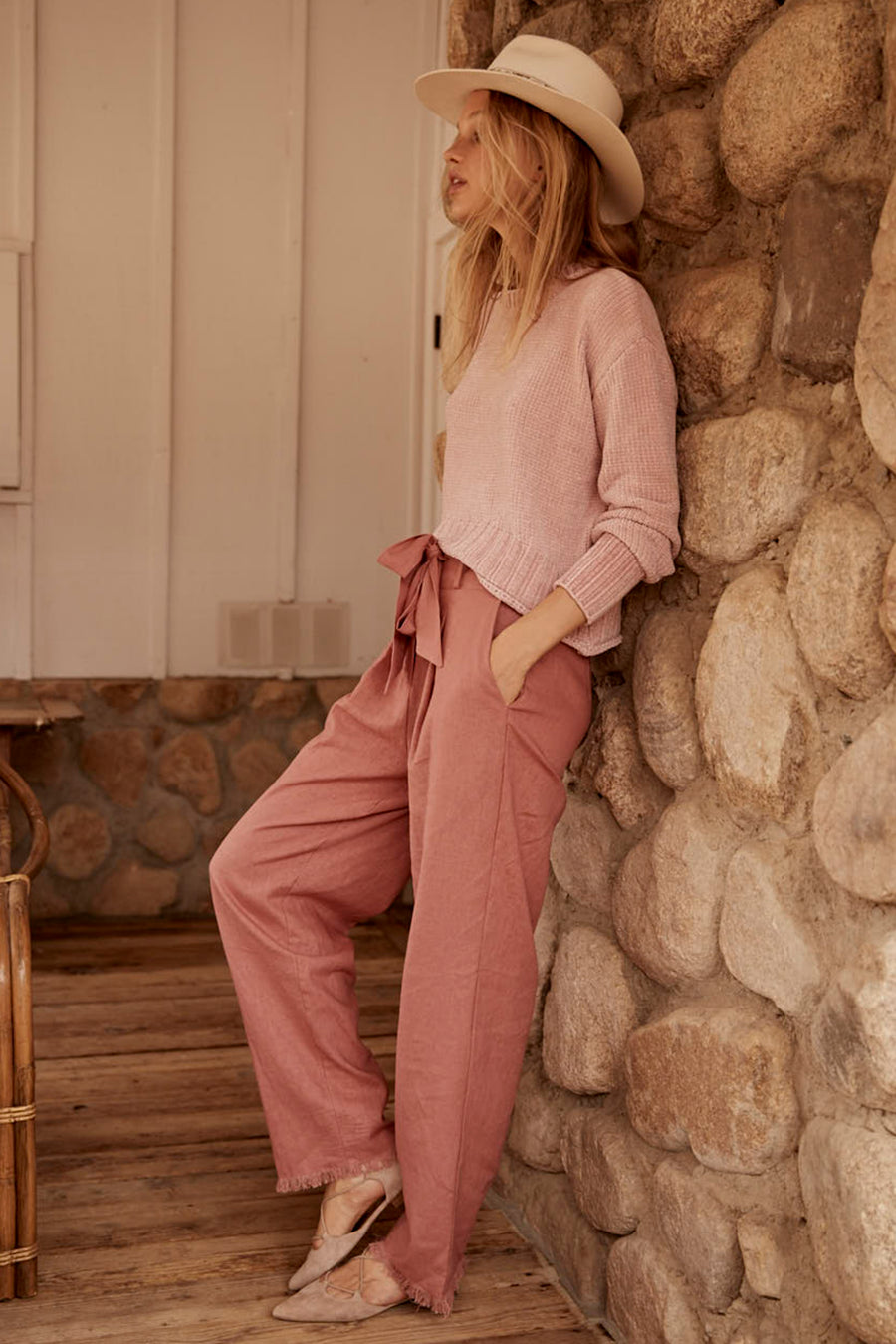 Roseau Tie Waist Dusty Rose Pant Lifestyle