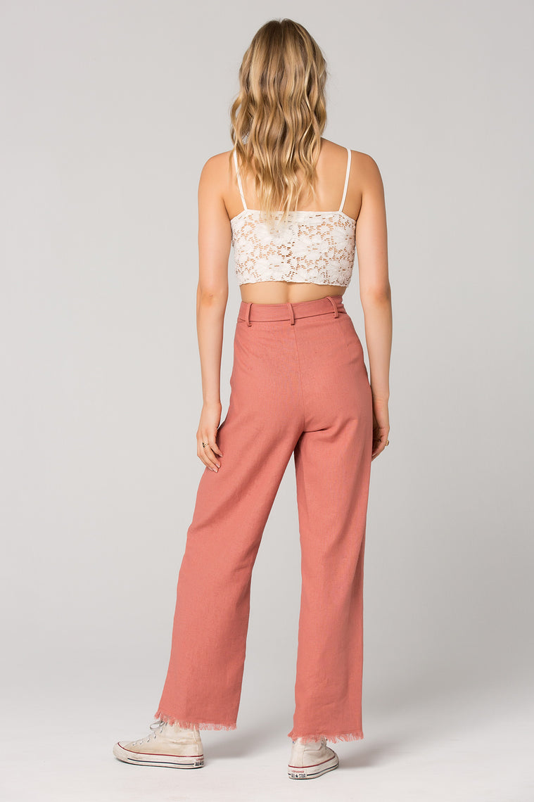 Roseau Tie Waist Dusty Rose Pant Back