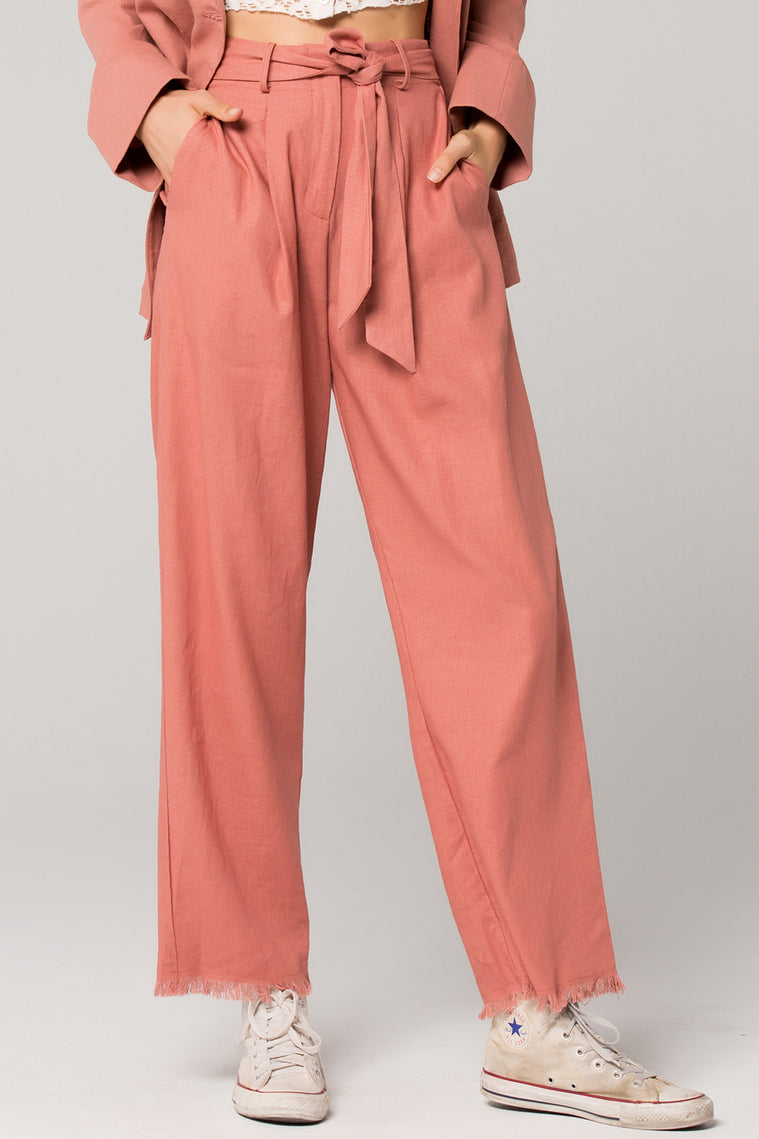 Roseau Tie Waist Dusty Rose Pant Detail