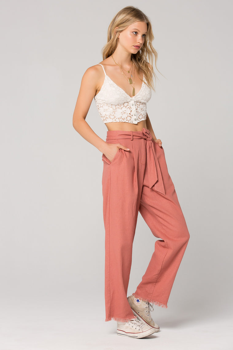 Roseau Tie Waist Dusty Rose Pant Side
