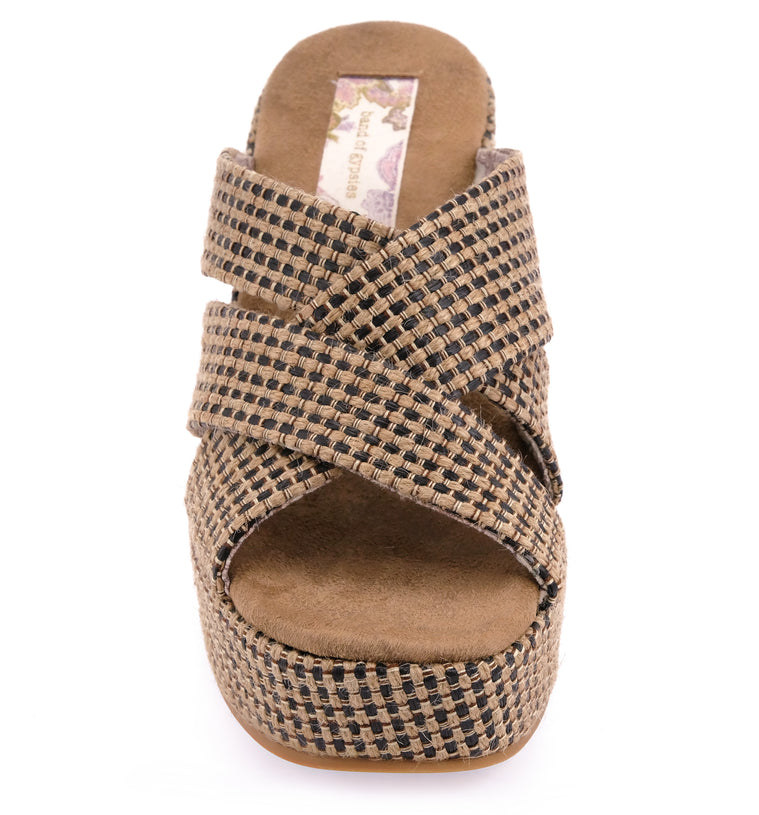 Sage Vegan Black Tan Jute Fabric Wedge Sandal Front