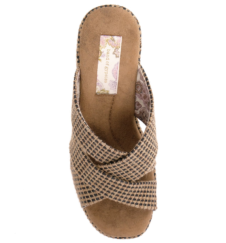 Sage Vegan Black Tan Jute Fabric Wedge Sandal Top