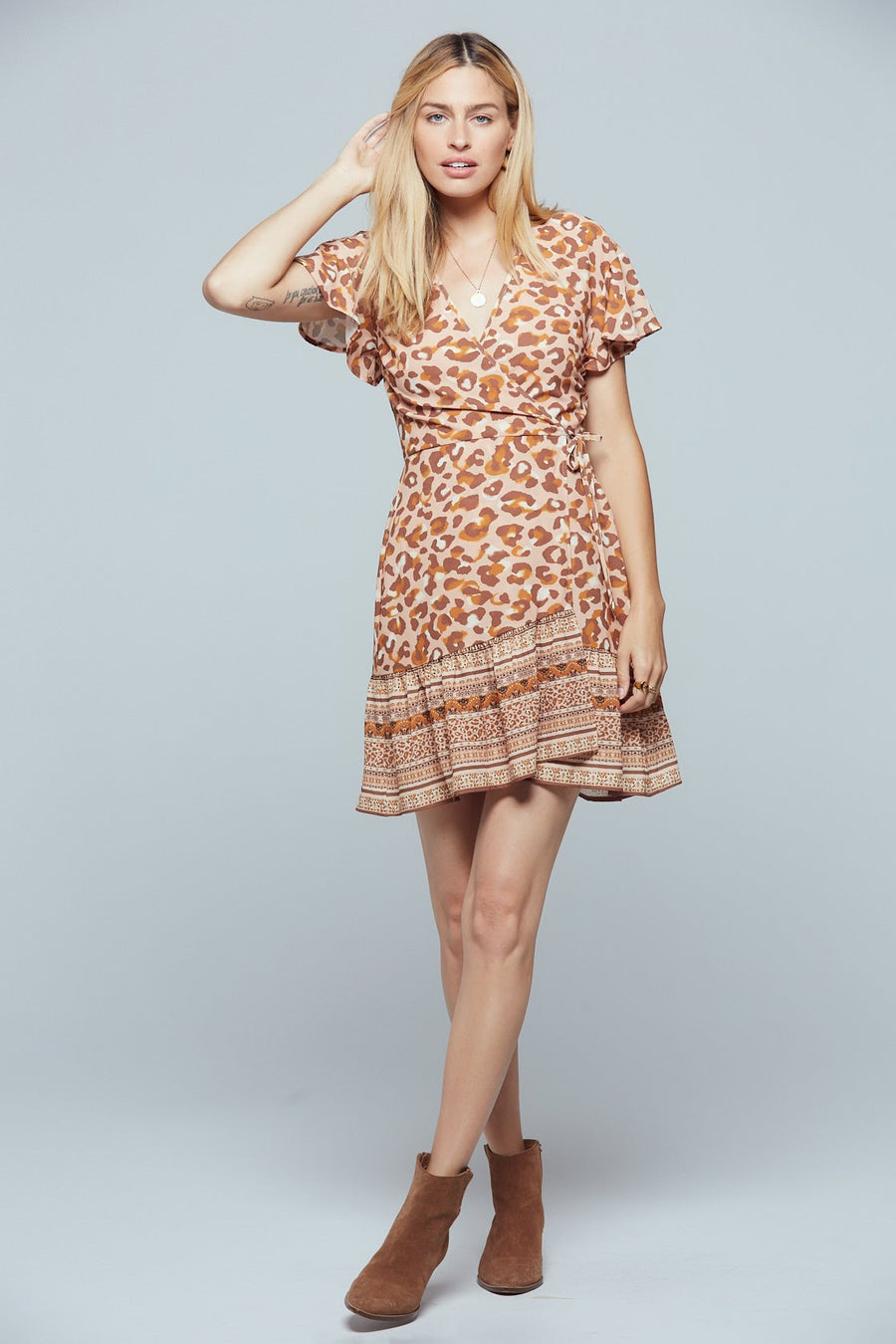 Sahara Border Animal Print Wrap Dress