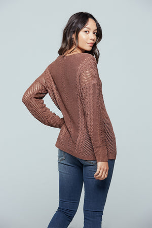 Sandy Bay Open Stitch Sweater Back