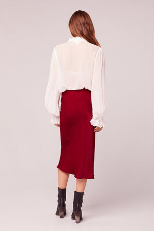 Sante Washed Satin Ruby Slip Skirt Back