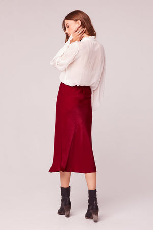 Sante Washed Satin Ruby Slip Skirt Detail