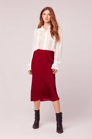Sante Washed Satin Ruby Slip Skirt Front
