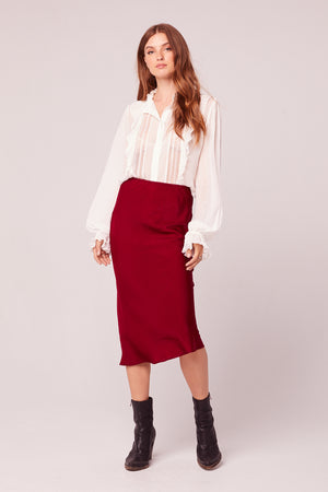 Sante Washed Satin Ruby Slip Skirt Master