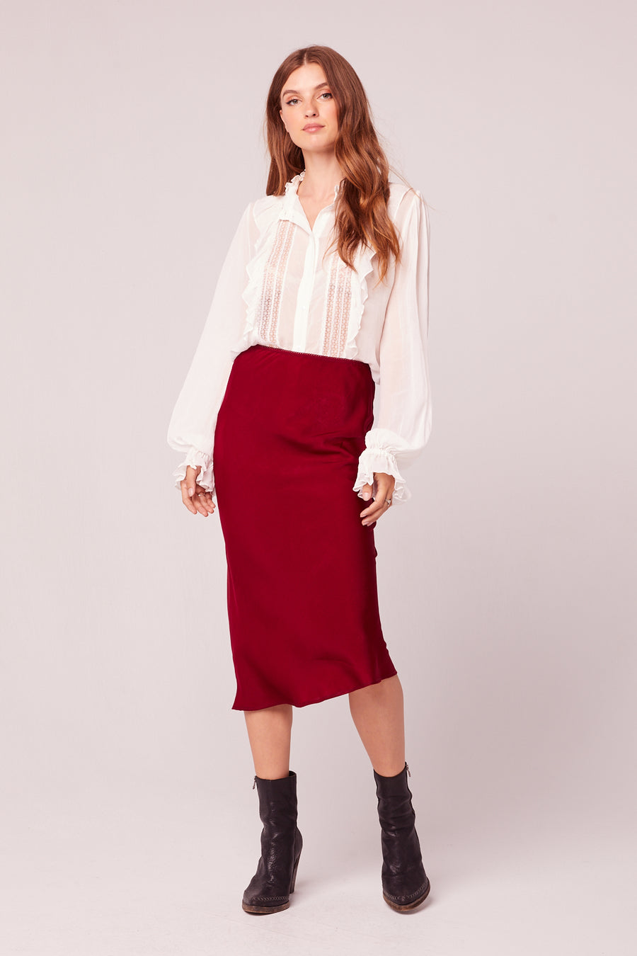 Sante Washed Satin Ruby Slip Skirt Lifestyle