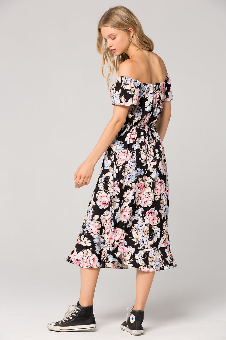 Santiago Floral Print Off Shoulder Midi Dress Back Detail