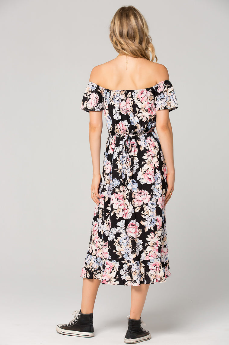 Santiago Floral Print Off Shoulder Midi Dress Back